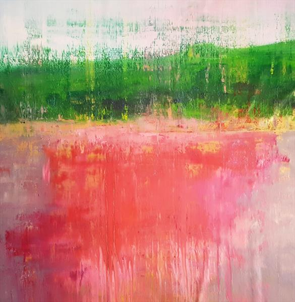 Burning river - XL abstract landscape by Ivana Olbricht