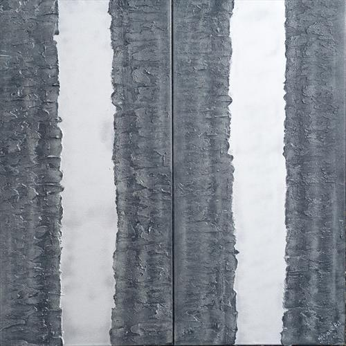 silver stripe steel long textured abstract painting A252 by Ksavera Art