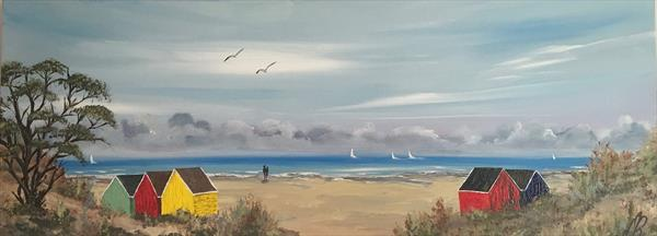 Beach huts on a panoramic canvas by Marja Brown