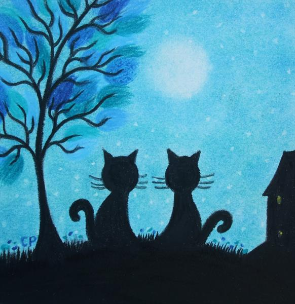 Black Cats and Moon (Framed) by Claudine Peronne