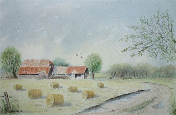 Essex Barn and Bales by Eric Hattrell