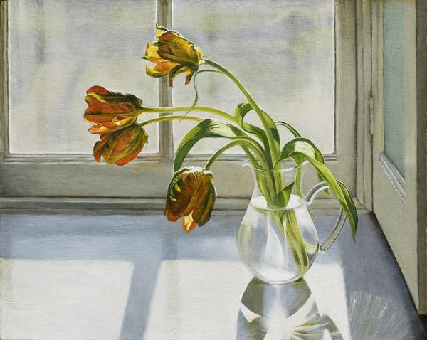A Jug of Parrot Tulips by Andrew Mcneile Jones