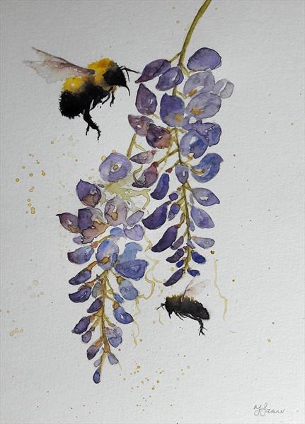 Bees & Wisteria by Teresa Tanner