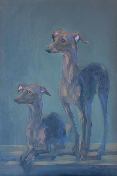Two Greyhounds by Nata Zaikina