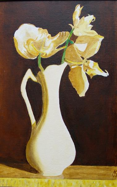 Orchid in White Vase by Anthony Keith Whitehead