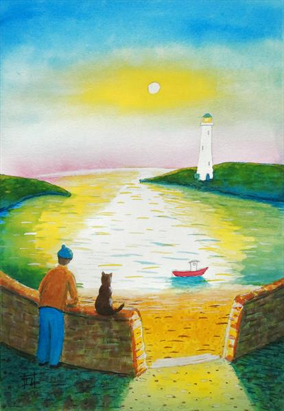 The Fisherman and his Cat at Sunset by Tony Lilley