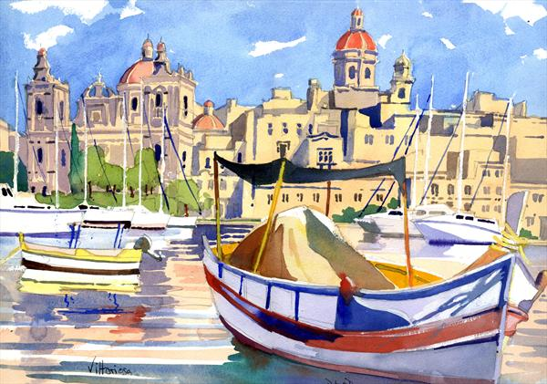 Malta, Vittoriosa from Senglea in the 3 Cities by Peter Day