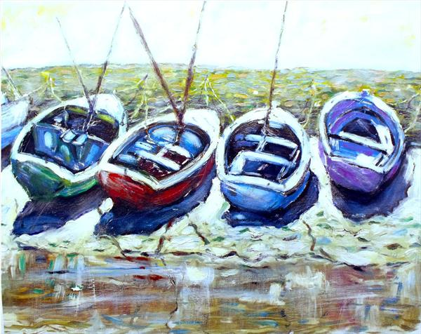 Boats in Emsworth Harbour by Peter King