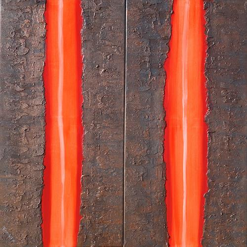 hot orange stripe rusty iron long textured painting abstract  A235 by Ksavera Art