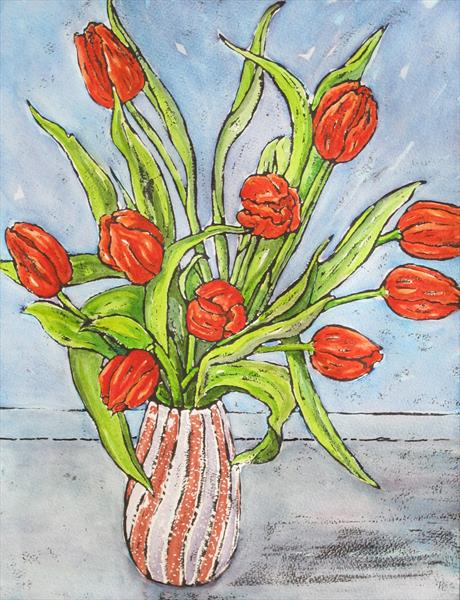 Red Tulips by Hilary Buckley
