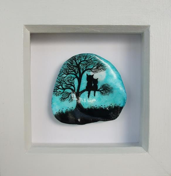 Painted Shell in Frame: Cat and Kitten in Tree by Claudine Peronne