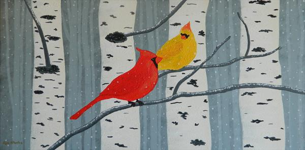Aspen Winter Overture - winter forest landscape and birds by Liza Wheeler