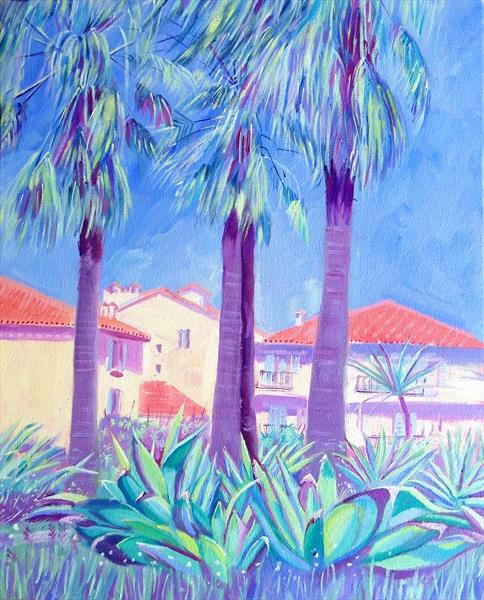Succulents and Palm trees, Antibes by Mary Stubberfield