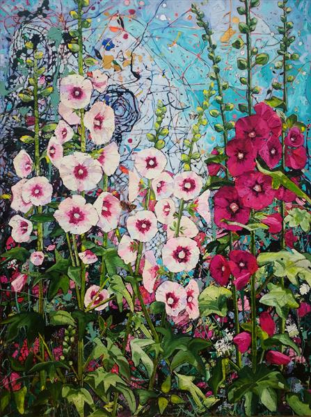 Summer Hollyhocks by Angie Wright