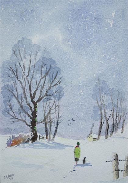 Elm in snow by Eric Hattrell