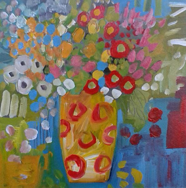 Mixed Flowers in a Yellow Vase by Jan Rippingham