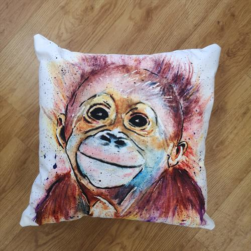 Monkey Business, Cotton Canvas Cushion by Eunice Friend