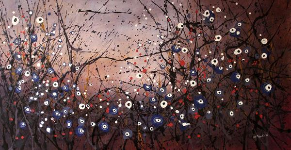 Winter Melodies #1 - Large original floral painting by Cecilia Frigati
