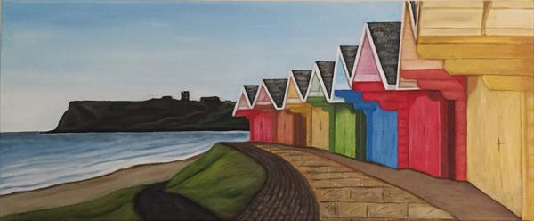 Scarborough beachuts and castle view  by Jennie James