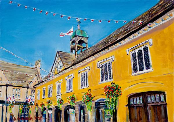 BASKETS AND BUNTING, TETBURY MARKET HALL by Diana Aungier - Rose