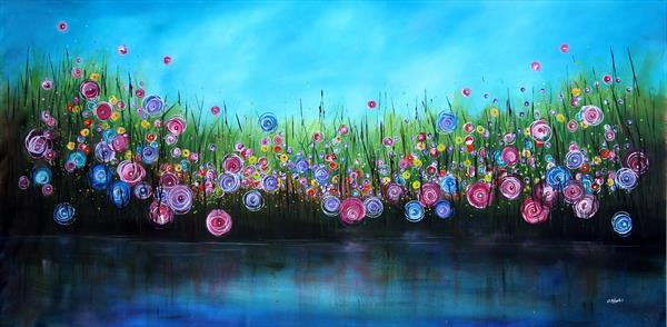 XXL Riverstorm #3 - Supersized original floral landscape by Cecilia Frigati
