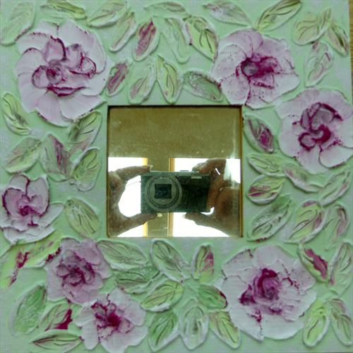 Pink Roses Mirror by Elaine Allender