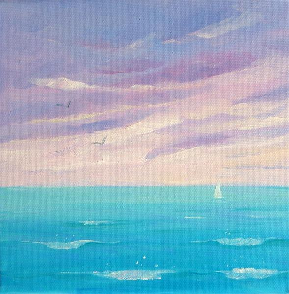 Heading Home small seascape painting by Mary Stubberfield