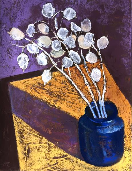 Silvery Translucence Still life Pastel Drawing  by Alena Rumak