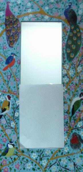 Hand painted large wall Mirror with birds by Casimira Mostyn