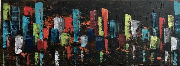 Night City reflected in Water by  Rizna  Munsif