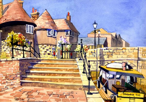 Barbican and Bridge, Sandwich Quay, Kent. New flood defenses and boat trips by Peter Day