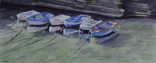 Boats at Porthclais Harbour by Dawn Harries