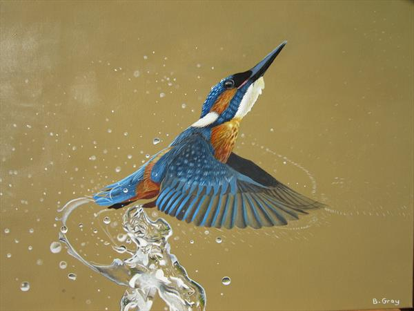 Kingfisher painting by Barry John Gray