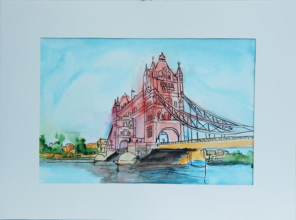 Tower bridge in London. Mounted and ready to hang. by Vita Schagen