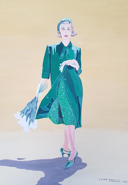 1950s Green coat and dress by Jean L'Homme