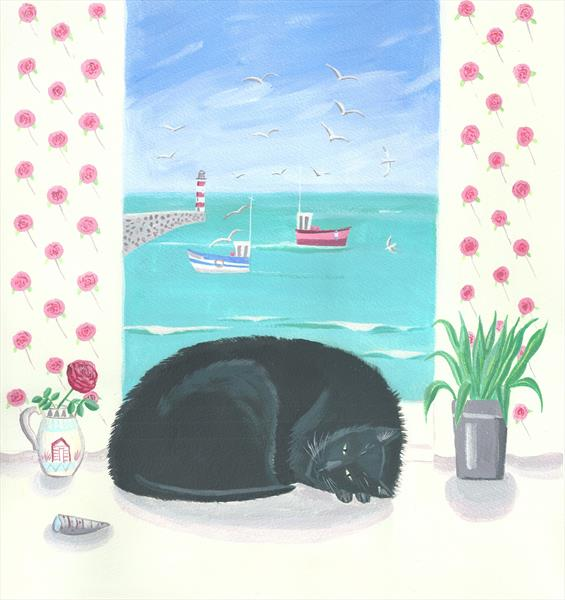 Black Cat in the window by Mary Stubberfield