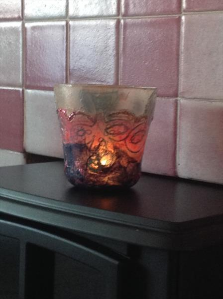 Decoupaged and hand painted Candleholder by Pamela  Riddoch