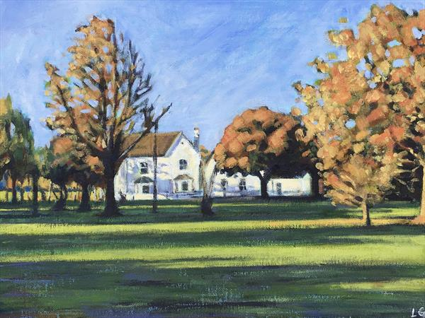 Autumn at the café, Wandsworth Common by Louise Gillard