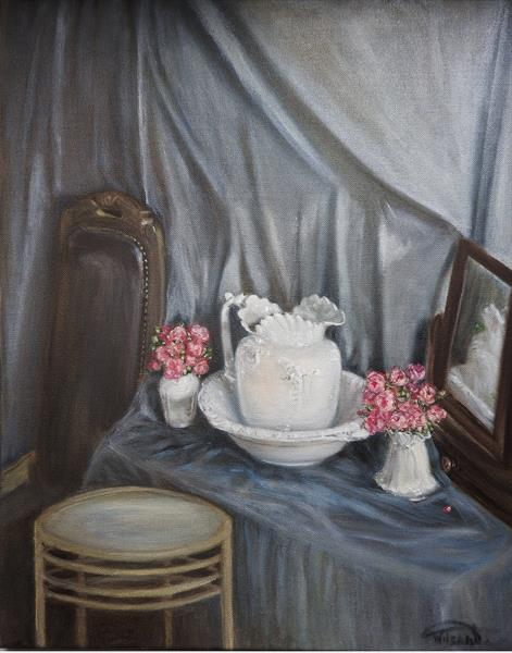 Jug and bowl with roses in the vases by Tatiana Wilson
