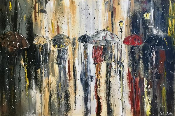 Umbrellas in the street by Pippa Buist