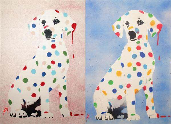 His and Hers Damien's Dotty, Spotty, Puppy Dawg (On Chunky Canvas)+ Free Poem  by Juan Sly