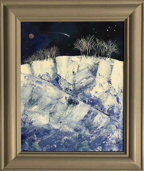 Like a thief in the night - shooting star ( framed original oil ) by Sarah Gill