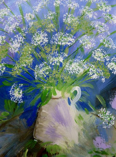 Jug with Cow Parsley by Elaine Allender