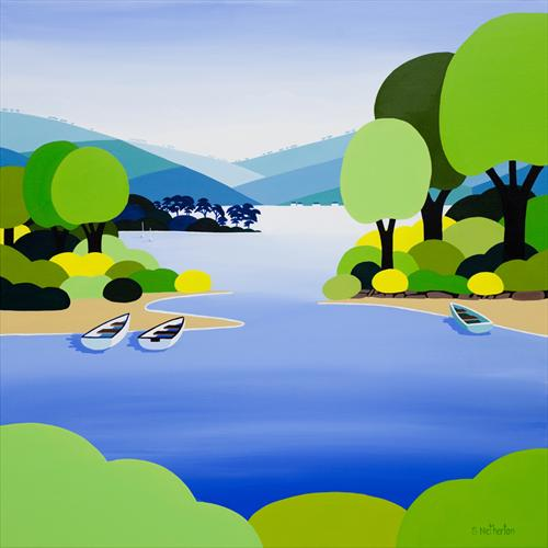 Boats On the Riverbank by Shirley Netherton