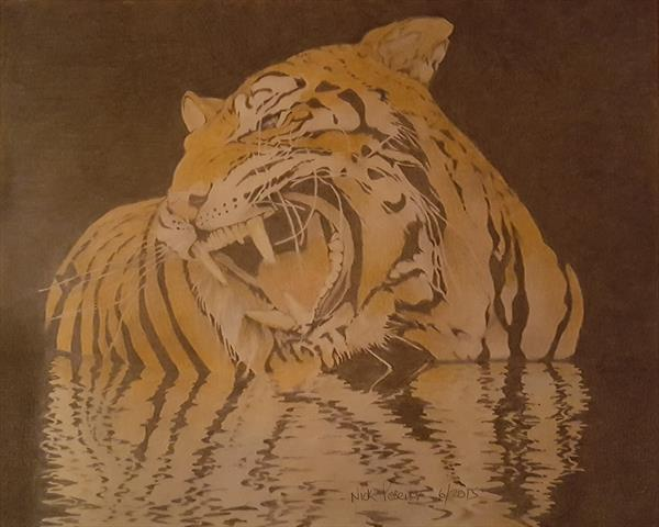 Siberian Tiger in Reflection by Nick Posener
