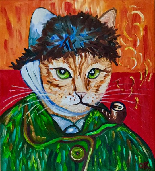 Cat La Vincent Van Gogh with a pipe and missing ear by Olga  Koval