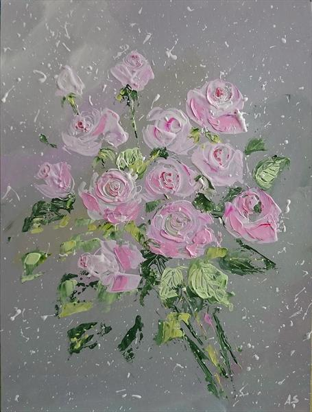 LIGHT PINK ROSES; PALETTE KNIFE PAINTING; FRAMED by Alena Shymchonak
