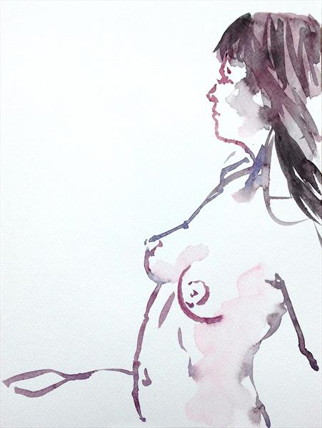 Female watercolour nude by Peter Kavanagh