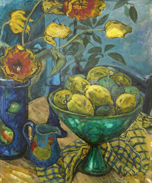Lemons in green bowl by Patricia Clements