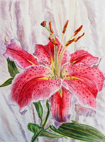 Oriental Lily with silk by Patricia Buckley